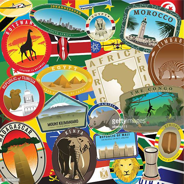 african travel splendor - mt kilimanjaro stock illustrations, clip art, cartoons, & icons