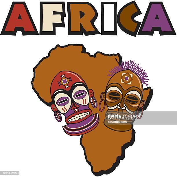 illustrations, cliparts, dessins animés et icônes de masques tribale africaine - masque africain