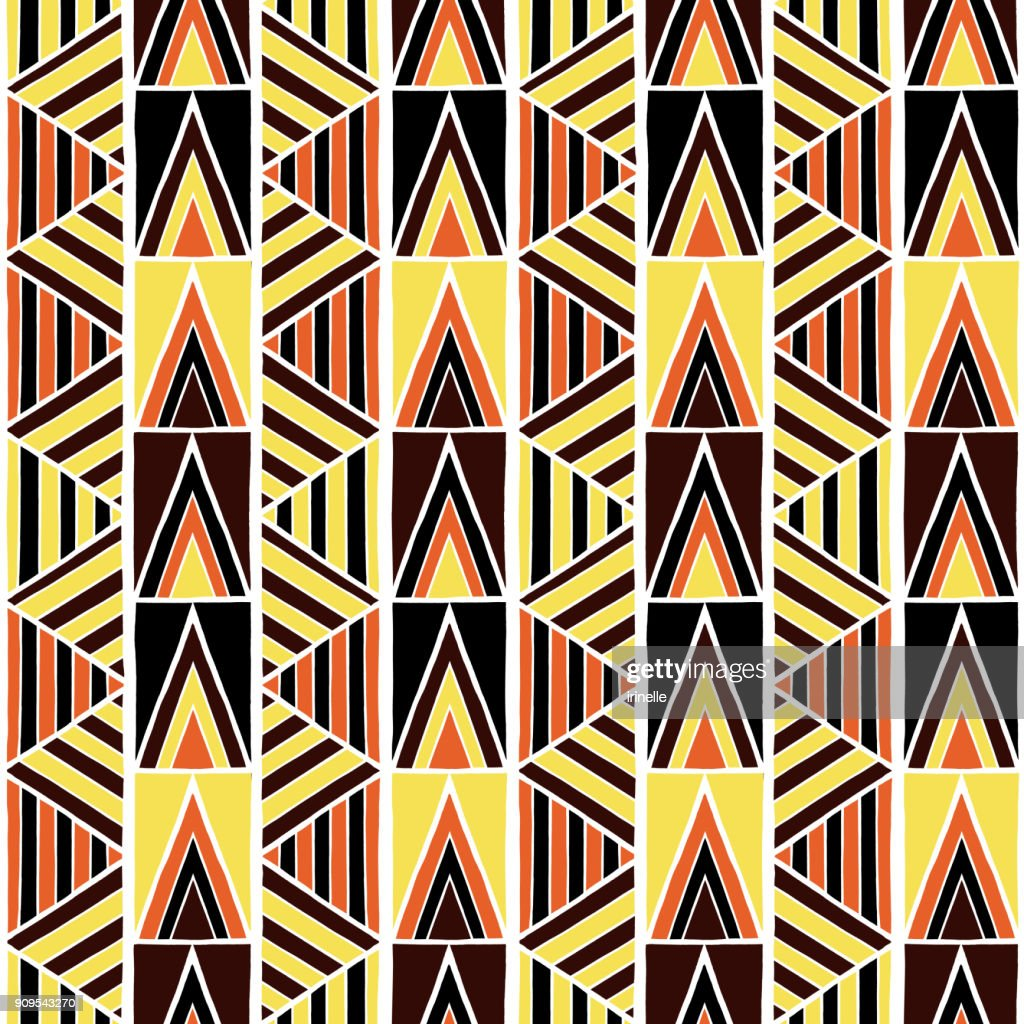 African tribal pattern vector seamless. Ethnic africa fabric print with abstract geometric elements. Bohemian background for home textile, gypsy rug, pillow, blanket, boho poster, wrapping paper.