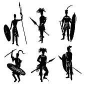 African tribal warriors in the battle suit  vector illustration