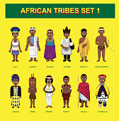 African Tribes Cute Characters Cartoon Set Vector Illustration