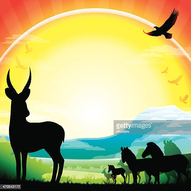 african waterbuck, zebras and antelopes silhouettes safari against kilimanjaro - mt kilimanjaro stock illustrations, clip art, cartoons, & icons