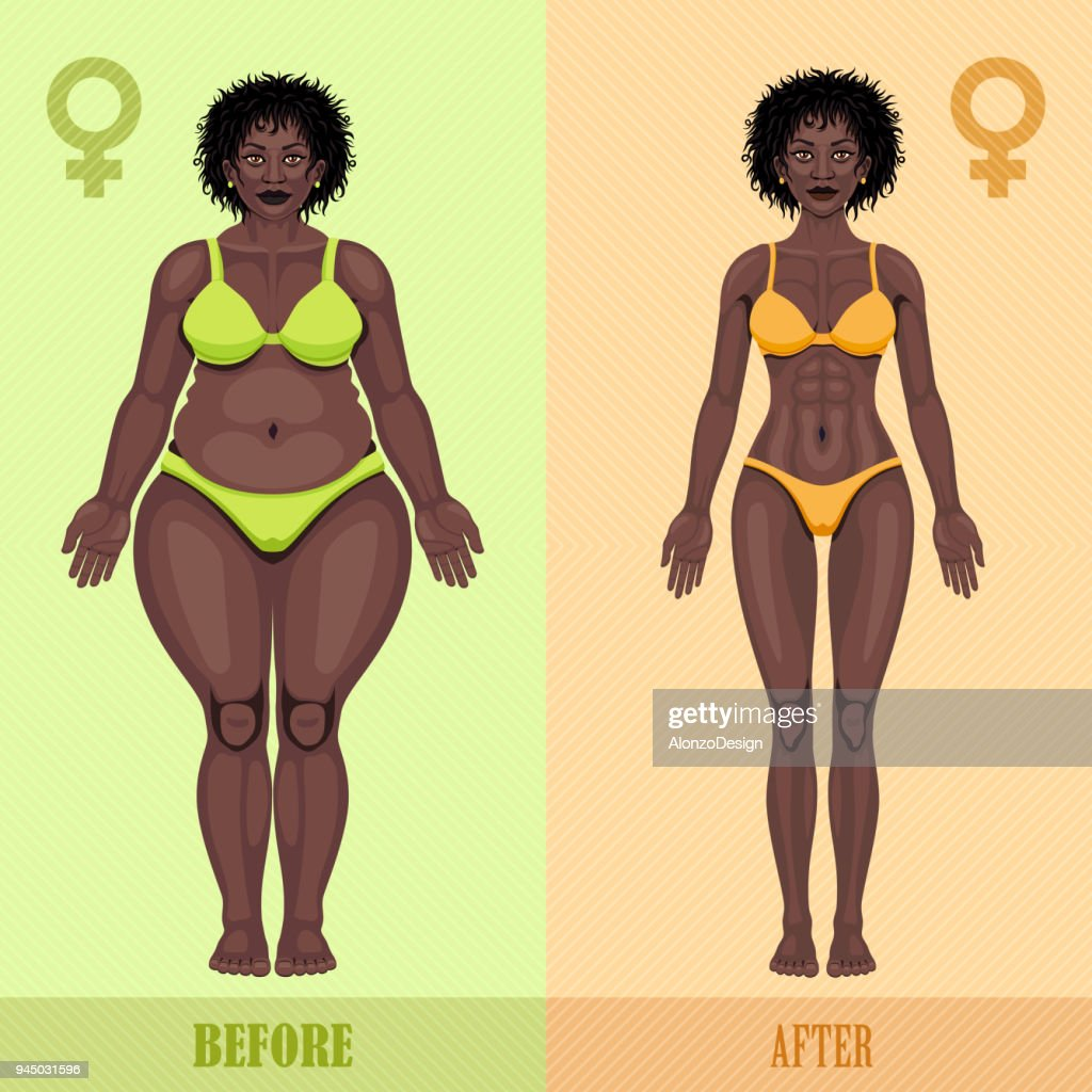 African woman before and after weight loss : stock illustration