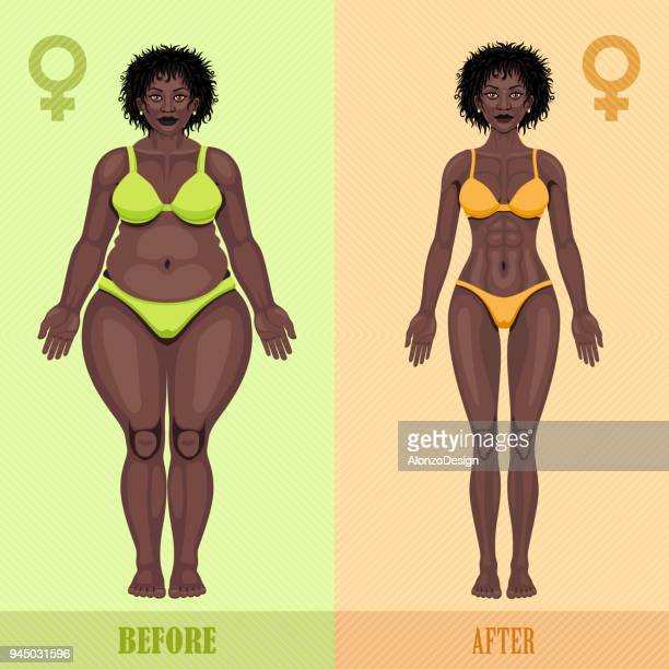 African woman before and after weight loss