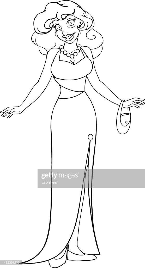 Imagenes de mujeres con vestidos para dibujar