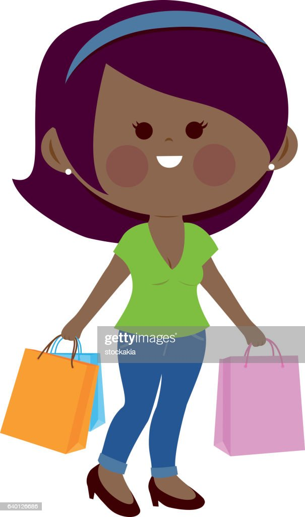 African woman with shopping bags