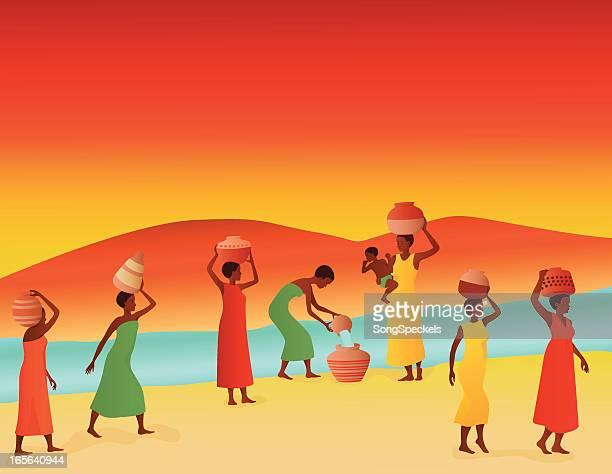 illustrations, cliparts, dessins animés et icônes de femmes africaines collecte de l'eau de la rivière - femme africaine