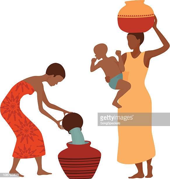 illustrations, cliparts, dessins animés et icônes de femmes africaines collecte de l'eau - femme africaine