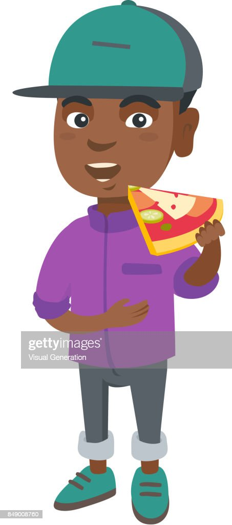 African-american boy eating tasty pizza
