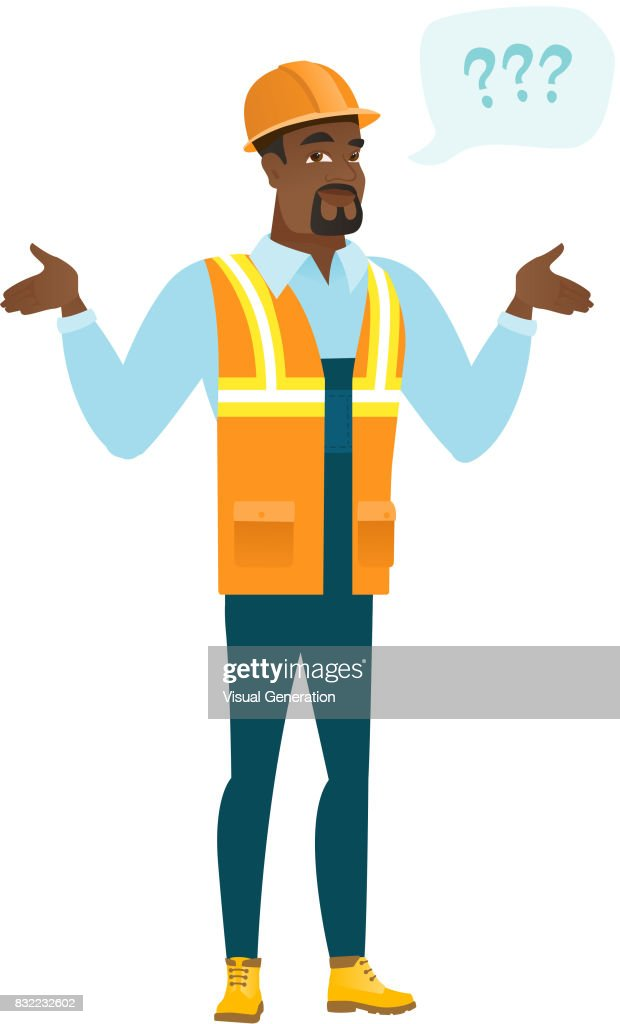 African-american confused builder with spread arms
