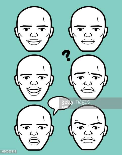 african-american male emoticon mature adult man face - balding stock illustrations, clip art, cartoons, & icons