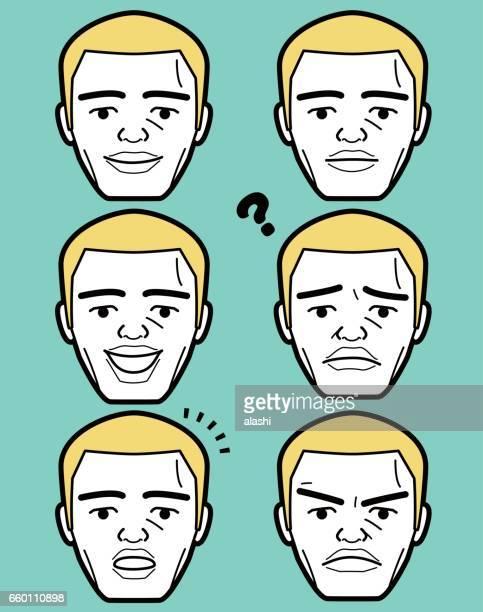 Afro-américain mâle visage d'homme adulte mûr émoticône avec coupe en brosse