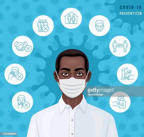 医療フェイスマスクを着用したアフリカ系アメリカ人男性。covid-19 予防。 - 病気の予防点のイラスト素材/クリップアート素材/マンガ素材/アイコン素材
