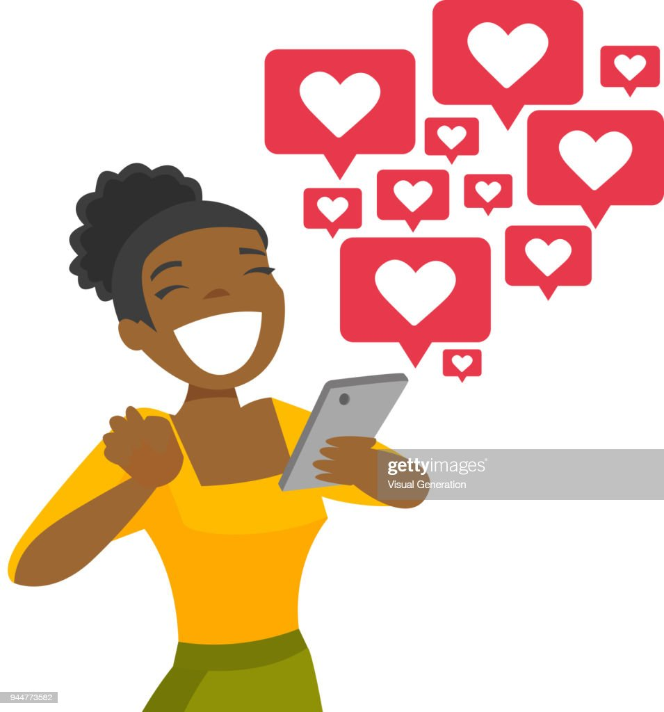 African-american woman getting social media likes