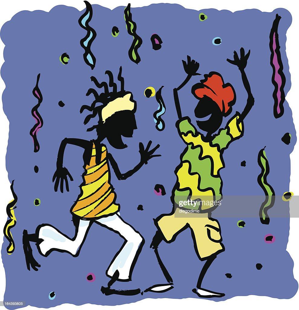 Africanos bailando en fiesta.