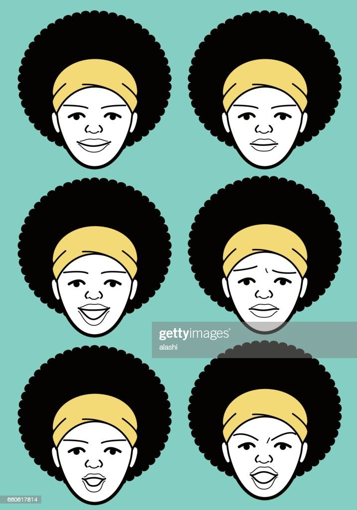 Afro African-american Female emoticon with headband young adult woman face