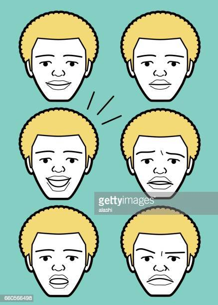 illustrations, cliparts, dessins animés et icônes de visage de jeune homme adulte émoticône afro afro-américains mâles - impatient