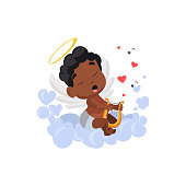Afro cupid with quimbard illustration