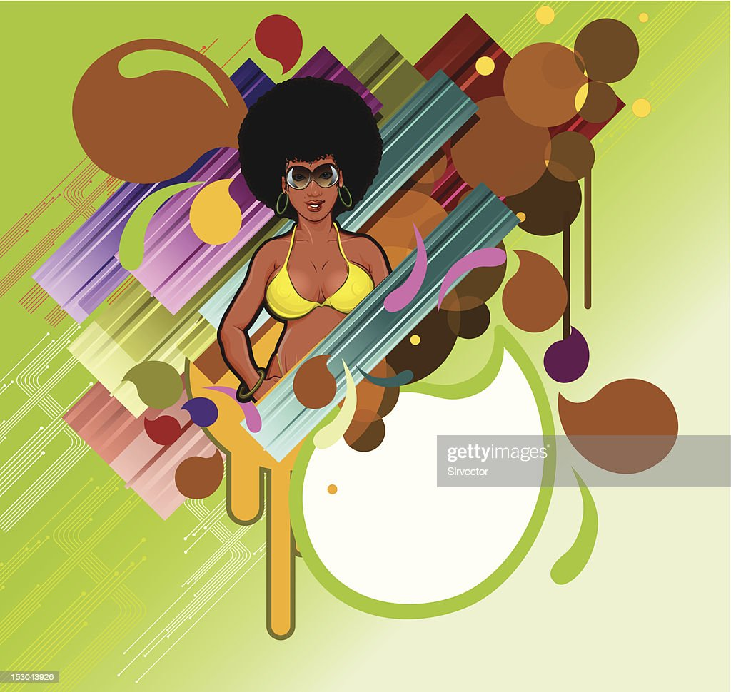 Afro girl in colorful design