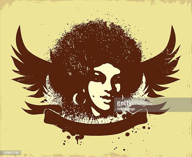 afro style logo - jazz stock illustrations, clip art, cartoons, & icons