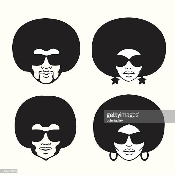 afro style - human hair stock illustrations