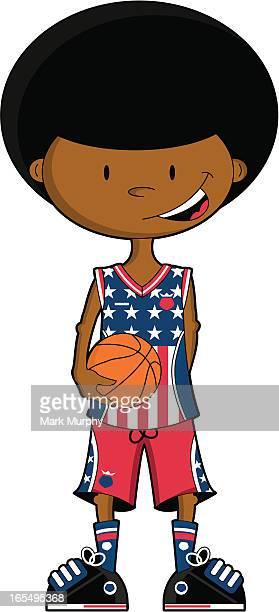 Menino de basquete Afro EUA carácter