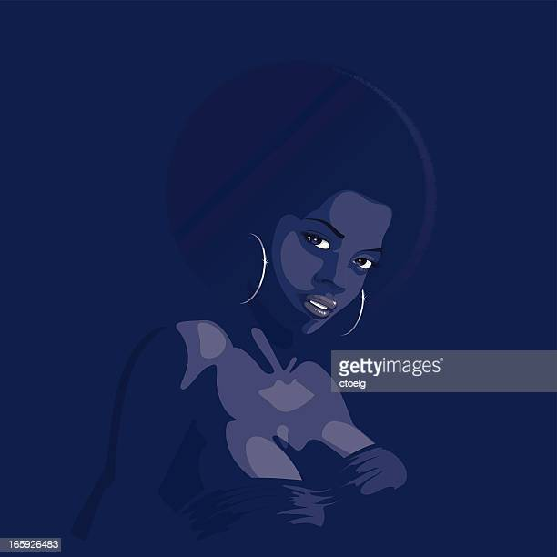 afro-look lady - afro stock illustrations