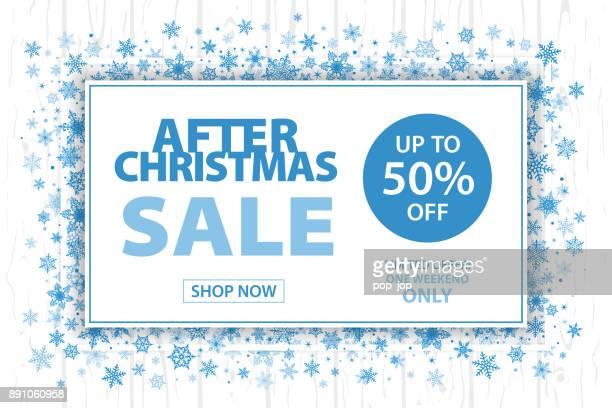ilustraciones, imágenes clip art, dibujos animados e iconos de stock de después de navidad venta fondo horizontal de los copos de nieve - vector - enero