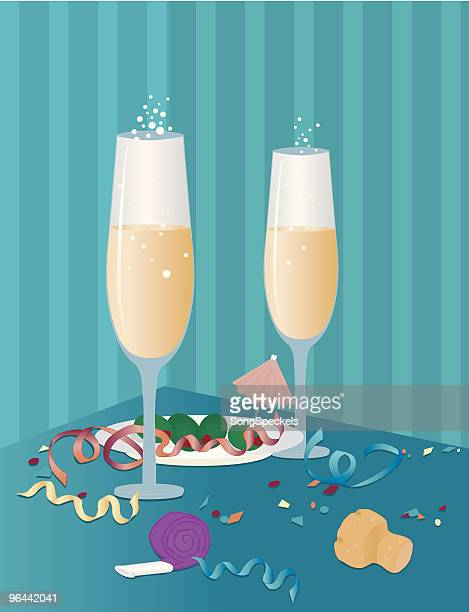 after midnight - champagne cork stock illustrations, clip art, cartoons, & icons