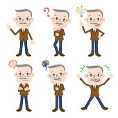 aged business person character various feeling clip art set, vector illustration