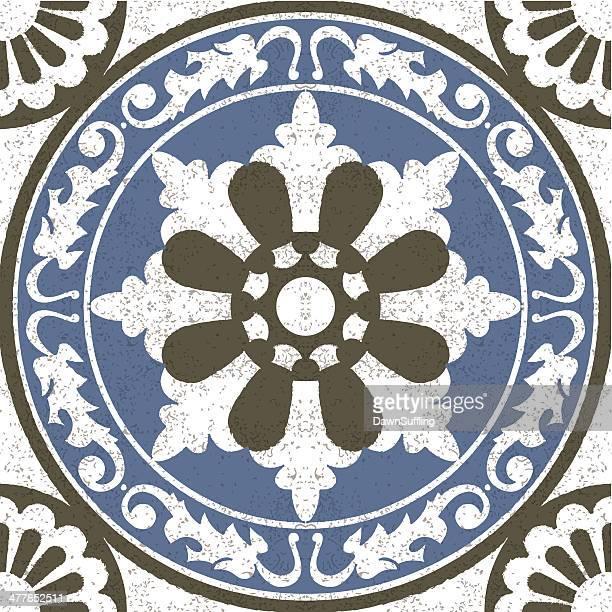 Aged effect Moorish Spanish mosaic tile
