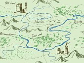 Aged fantasy vintage seamless map with mountains, buildings, trees, hills, river.