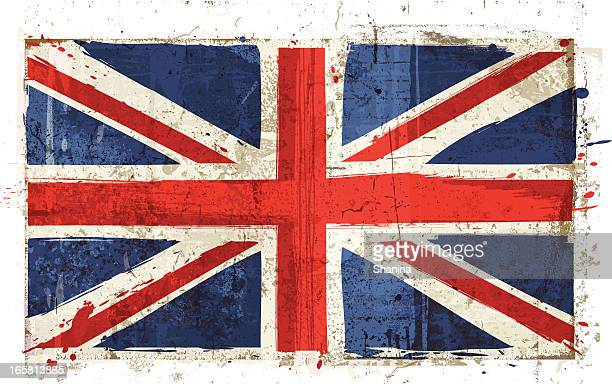 aged great britain flag - english culture stock illustrations