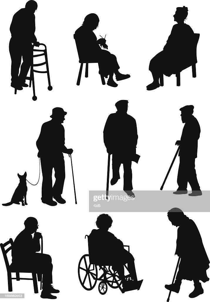Aged people involved in different activities : stock illustration