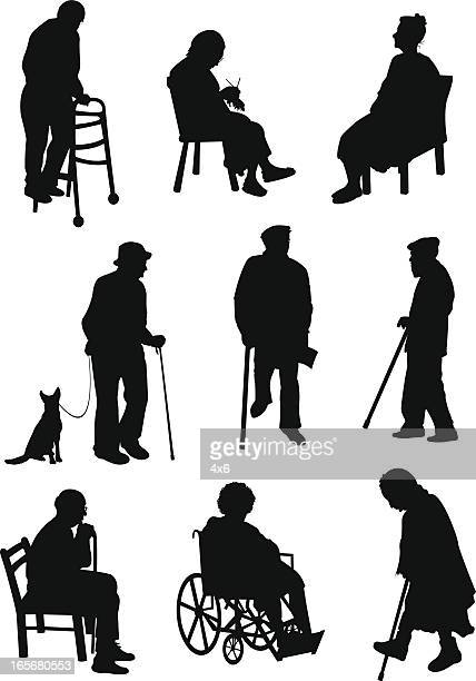 aged people involved in different activities - dog leash stock illustrations, clip art, cartoons, & icons