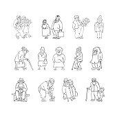 Aged people set black, white vector illustration. Scene with eld