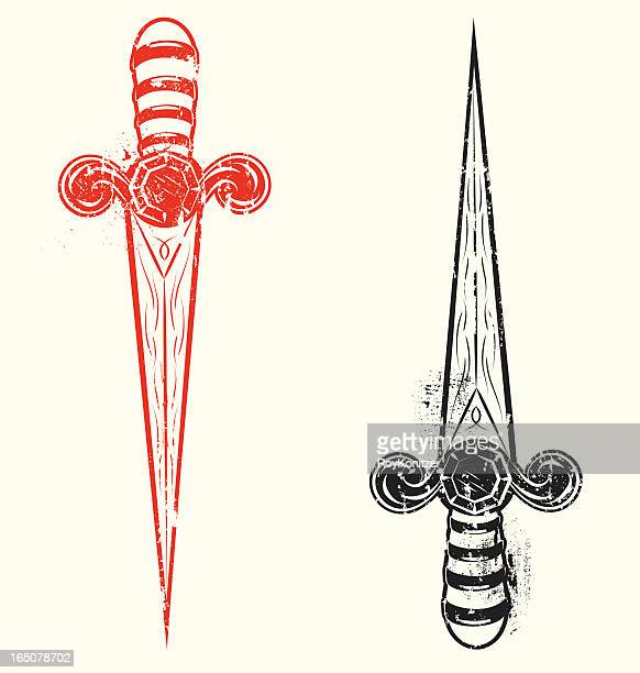 aged tatto style daggers - dagger stock illustrations