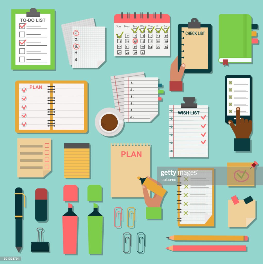 Agenda business notes vector set.