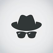 Agent icon. Spy sunglasses. Hat and glasses