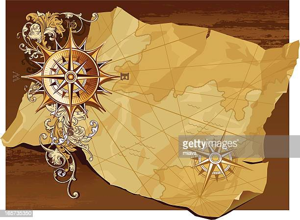 age-old compass and map - the past stock illustrations