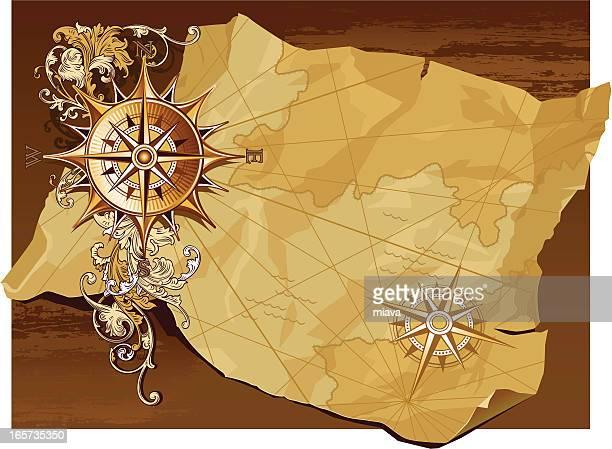 Alte Kompass und Karte