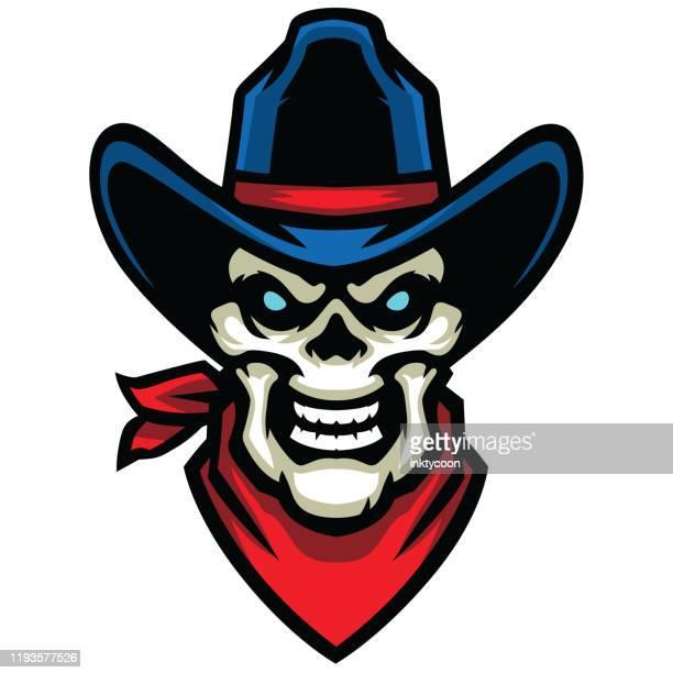 aggressive cowboy skull - bandana stock illustrations