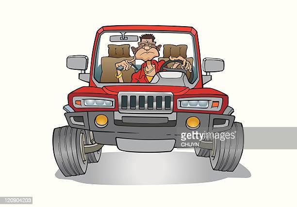 aggressive driver - suv stock illustrations, clip art, cartoons, & icons