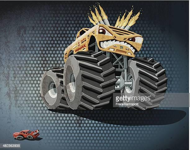 ilustraciones, imágenes clip art, dibujos animados e iconos de stock de agresiva monster truck grunge color - monstertruck