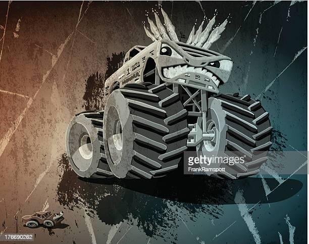 ilustrações, clipart, desenhos animados e ícones de agressivo monster truck grunge - esportes extremos