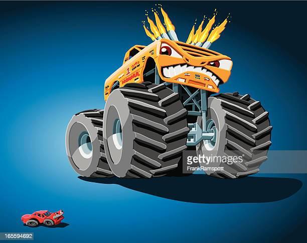 ilustraciones, imágenes clip art, dibujos animados e iconos de stock de agresiva monster truck - monstertruck