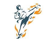 Aggressive Professional Taekwondo Athlete Flying Kick