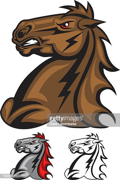 aggressive stallion mascot with lightening bolts - stallion stock illustrations, clip art, cartoons, & icons
