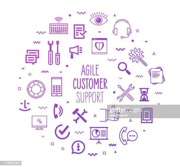 ilustraciones, imágenes clip art, dibujos animados e iconos de stock de soporte al cliente ágil diseño de perfil infográfico de rendimiento - agilidad