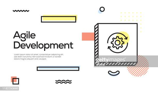 agile development concept. geometric retro style banner and poster concept with agile development icon - flexibility stock illustrations